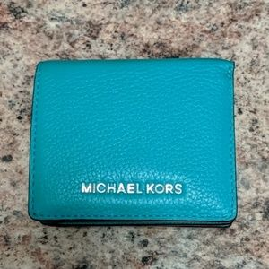 Michael Kors teal/turquoise small wallet AUTH EUC